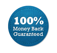 Money Back Guarantee 100% - Circle Badge Blue
