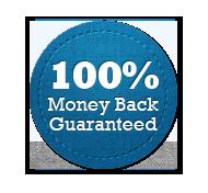 Money Back Guarantee 100% - Circle Badge Blue